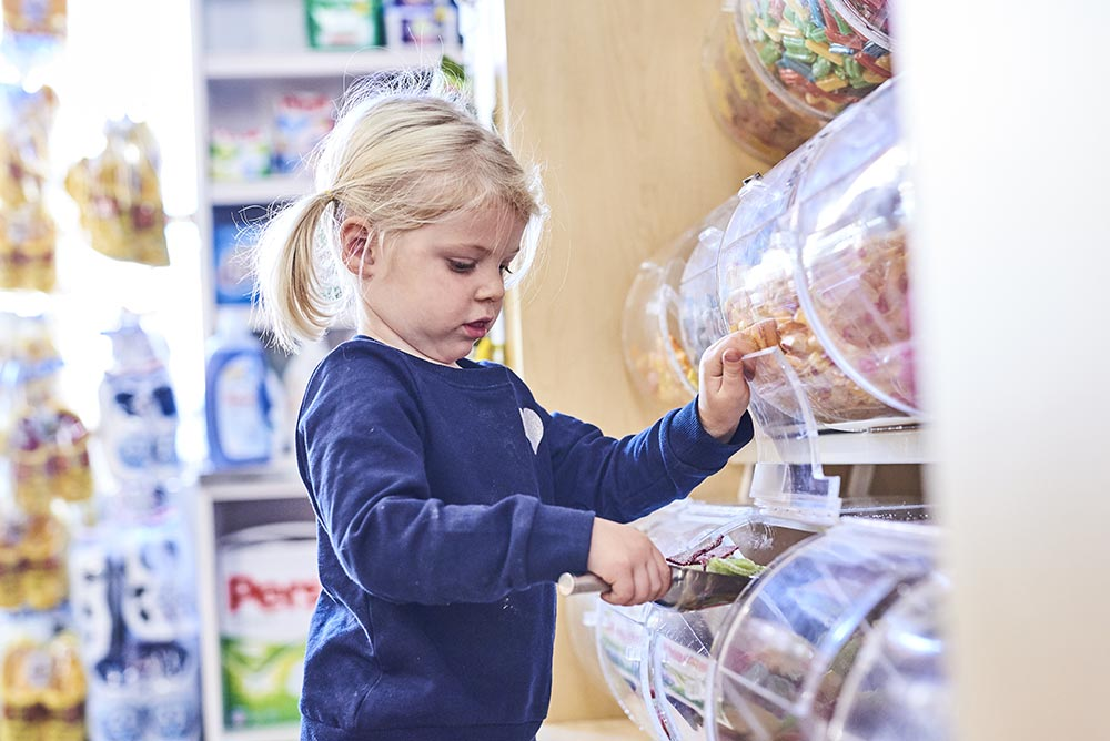 Girl browsing candy